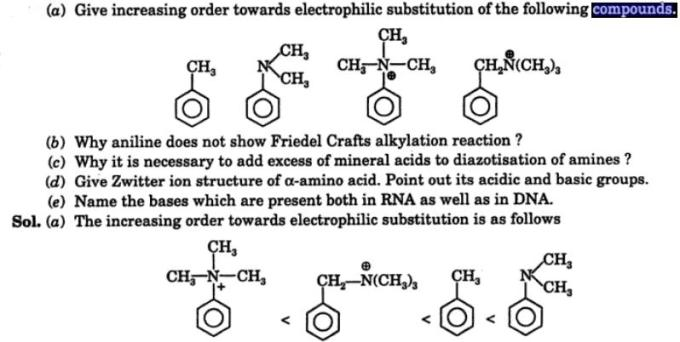 9 Give increasing order towards electrophilic substitution