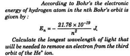 According to Bohr's electronic energy of Hydrogen