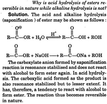 acid hydrolysis of esters are reversible while alkaline hydrolysis is not