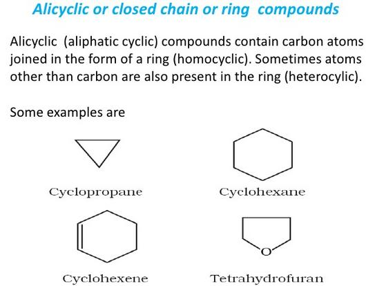 Alicyclic or closed chain or ring compounds