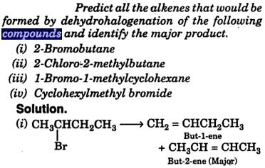 Alkenes formed by dehydrohalogenation