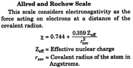Allred and Rochow scale of electronegativity