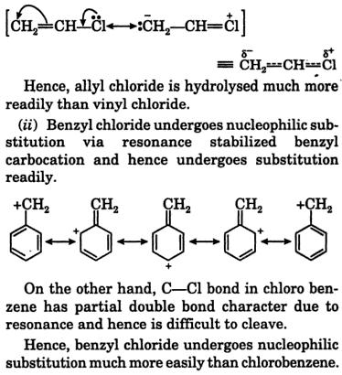 Allyl Chloride is hydrolysed easily 2