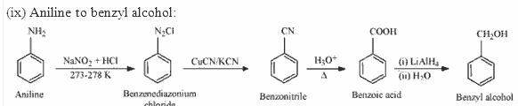 Aniline to Benzyl alcohol
