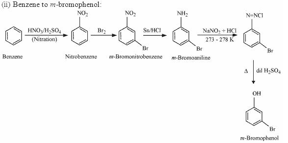 Benzene to m-bromophenol
