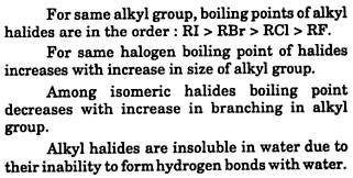 Boiling points of Alkyl halides RI RBr RCl RF