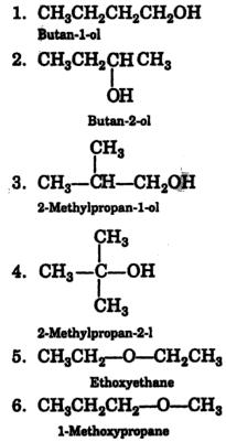 Butan-1-ol, 2-Methylpropan1-ol, Ethoxyethane, 1-Methoxypropane