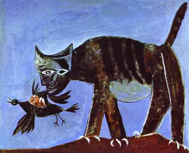 cat catching crow pablo picasso