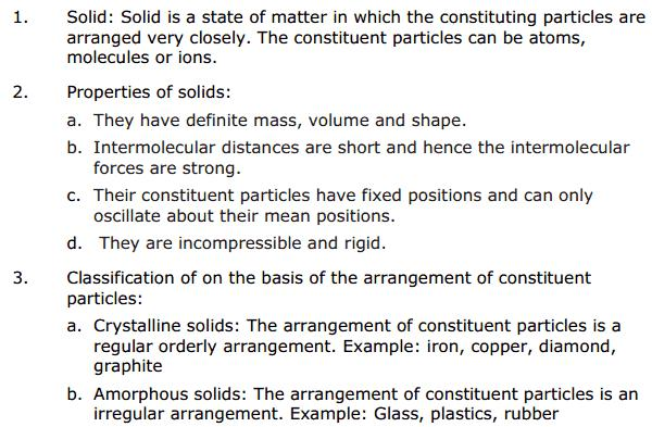 CBSE Solid State 1 Chapter 1 Concepts