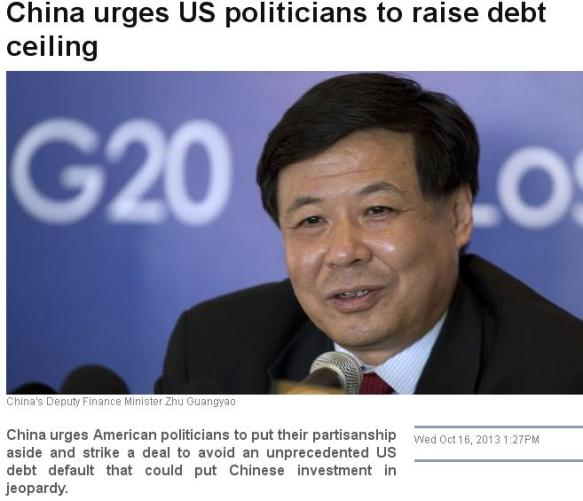 China urges US to increase Debt ceiling and take more loan