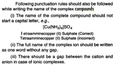 Co-ordination compound naming punctuation rule s