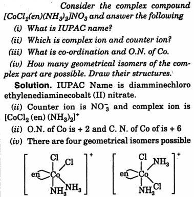 [CoCl2(en)(NH3)2] NO3 IUPAC name co-ordination Compound