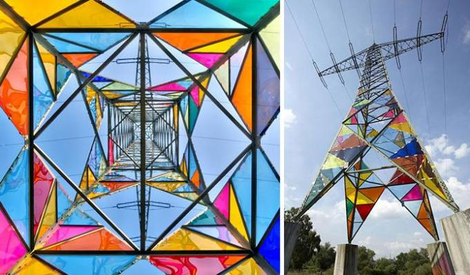 Coloured glass in Electric towers