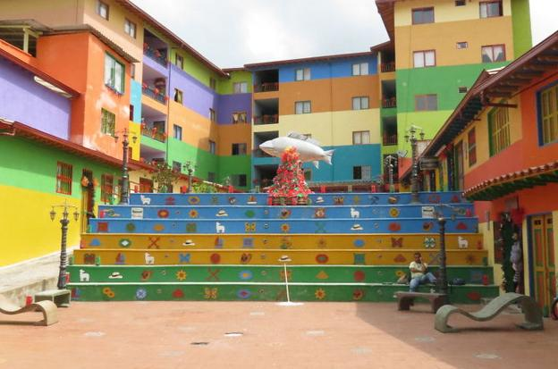 Colourful school with colored steps