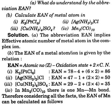 EAN 1 Co-ordination Compounds