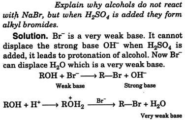 Explain why alcohols do not react with NaBr but