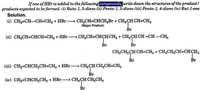 HBr added to various Alkenes Buta-1,3-diene