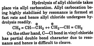 hydrolysis of allyl chloride takes place via allyl carbocation