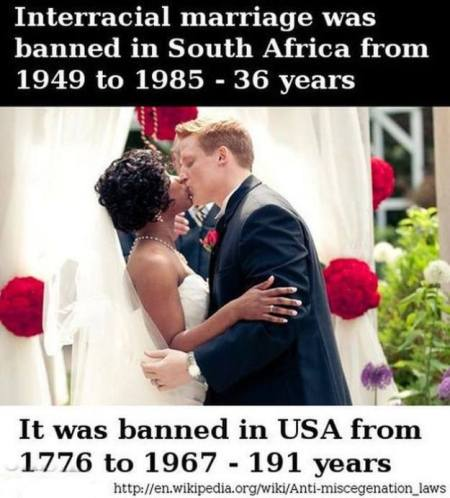 Inter racial marriage ban in various countries