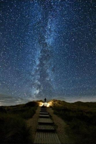 Ireland road aligned with stars
