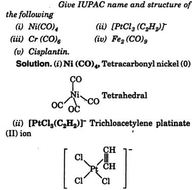 IUPAC name of Ni(CO)4 PtCl3(C2H2) Co-ordination compounds