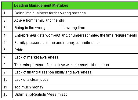 Leading Management mistakes startup failures