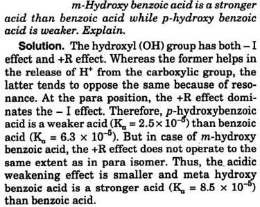 m-Hydroxybenzoic acid is stronger acid than benzoic acid