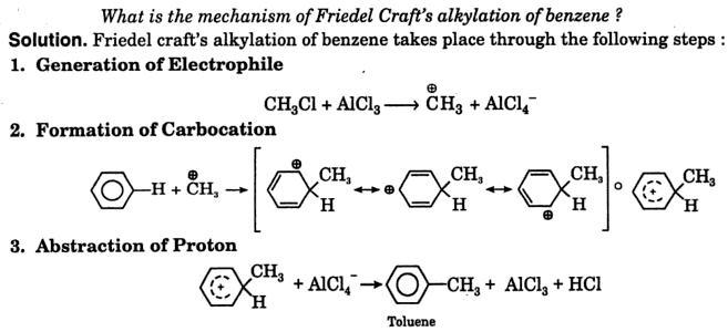 mechanism of Friedel Craft's alkylation of Benzene