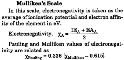 Mulliken's scale of electronegativity