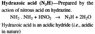 N3H Hydrazoic acid nitrous acid + hydrazine