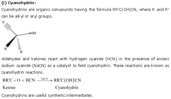 NCERT CBSE 12.1 Solution 1 Cyanohydrin