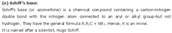 NCERT CBSE 12.1 Solution 10-1 Schiff's Base