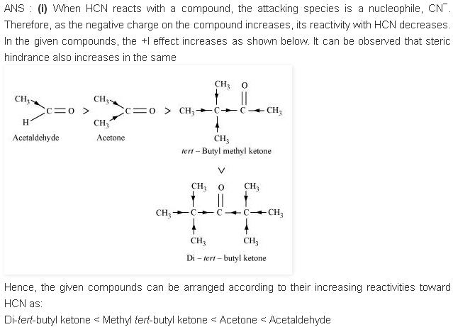 NCERT CBSE 12.12 1 Solution Increasing reactivity towards HCN