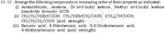 NCERT CBSE 12.12 Question Arrange the compounds