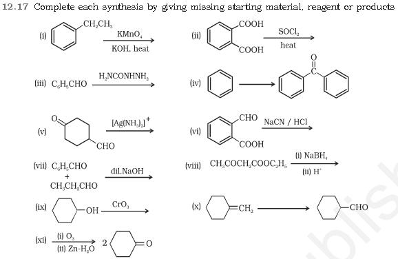 NCERT CBSE 12.17 Question Complete each synthesis