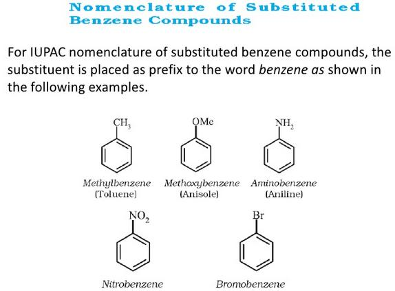 Nomenclature of Substituted Benzene Compounds