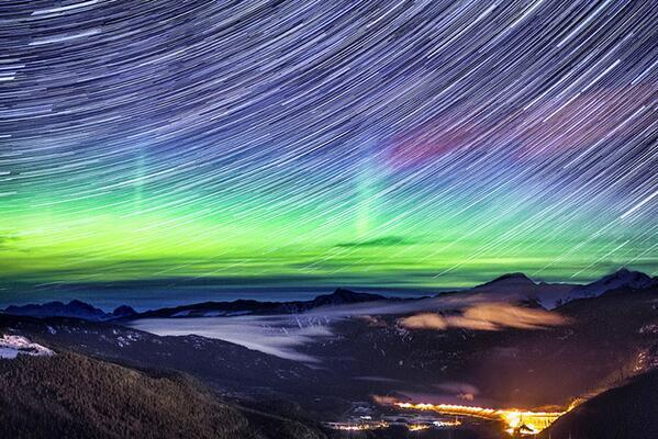 Northern lights over the Rocky Mountains in Canada