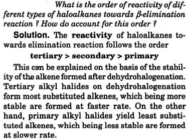 order of reactivity types of haloalkanes beta elimination