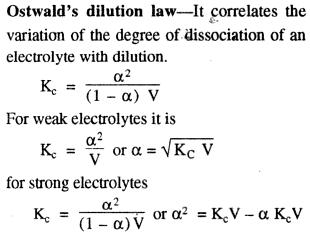 Ostwald's dilution law weak strong electrolyte