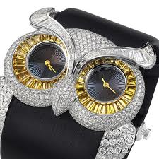 owl watch studded with precious stones