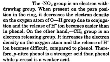 p-nitrophenol is stronger acid than phenol, p-cresol is weaker acid 2