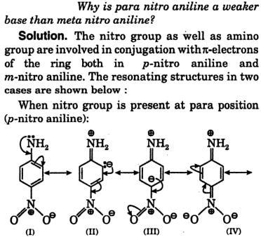 paranitroaniline weaker base than meta nitro aniline