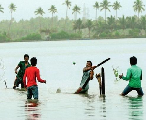 Playing Cricket in water-2