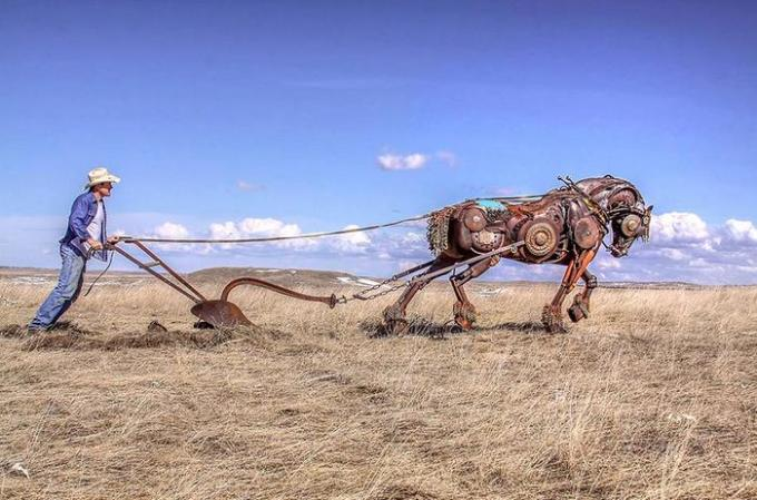 plough with metal scrap horse