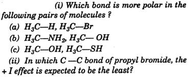 Polarity of Bonds and +I effect
