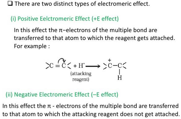 Positive Electromeric effect and negative electromeric effect