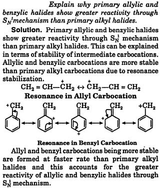 primary allylic and benzylic halides show greater reactivity by SN1