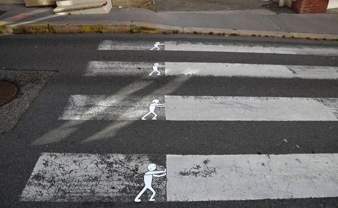pushing the zebra crossing slabs