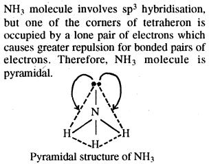 Pyramidal structure of NH3 Ammonia