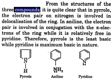 Pyrrole is least basic pyridine is more basic